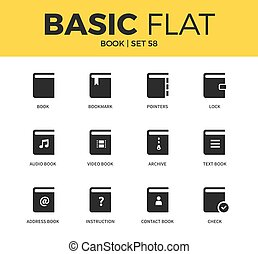 Basic set of book icons