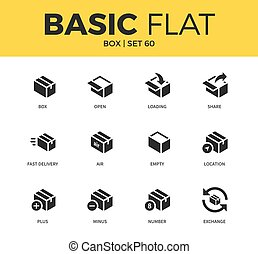 Basic set of box icons