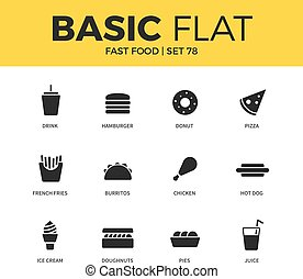 Basic set of fast food icons - Basic set of hamburger form,...