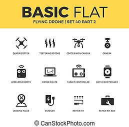 Basic set of flying drone icons - Basic set of wireless...