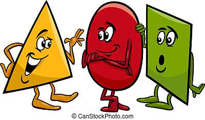 basic shapes cartoon illustration - Cartoon Illustration of...