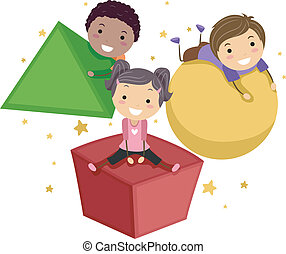 Basic Shapes - Illustration of Kids Playing with Objects of...