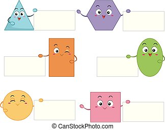 Basic Shapes Mascots Boards Illustration