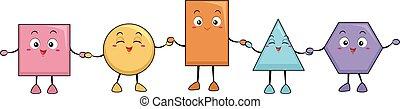 Basic Shapes Mascots Illustration