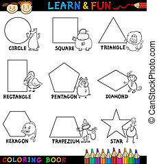 Basic Shapes with Animals for Coloring - Cartoon Coloring...