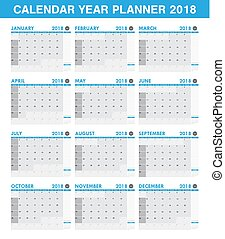 Basic simple 2018 year planner calendar set of all month