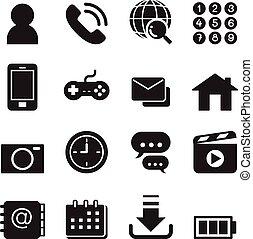 Basic Smart phone application icons set