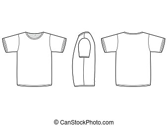 Vector illustration of a blank basic T-shirt. All objects and details are isolated. Colors and transparent background color are easy to adjust.
