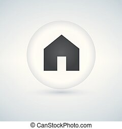 Basic web home icon, white glossy circle button