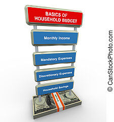 Basics of household budget - 3d render of household budget...