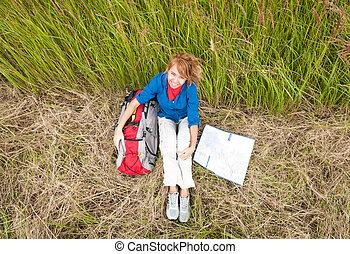 basierend, frau, field., tourist, junger