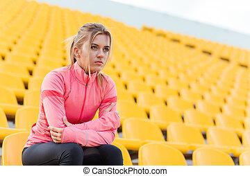basierend, frau, stadion, sport