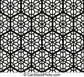 basierend, kumiko, verzierung, schwarz, seamles, geometrisch, weißes