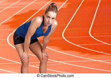 basierend, laufen, jogger, nach, langer, spur, rennender , weibliche , nasse, athletik