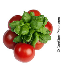 Basil and tomatoes isolated on white