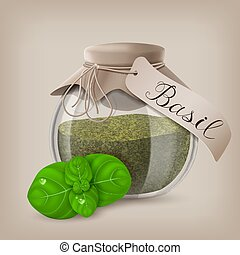 Basil dry spice in a jar with basil leaves. Vector illustration