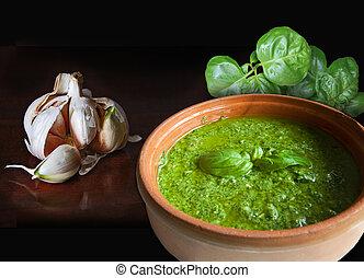 Basil garlic and pesto sauce