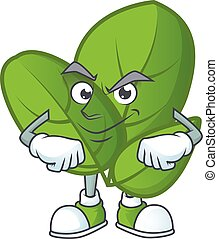 Basil mascot cartoon character style with Smirking face