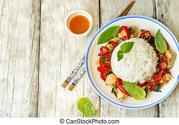 Basil pepper chicken stir fry with rice. the toning. ...
