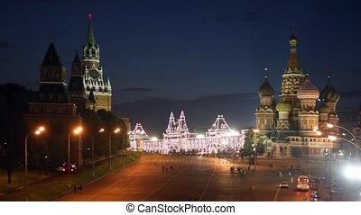 Basil the Blessed cathedral and Kremlin at night, Moscow