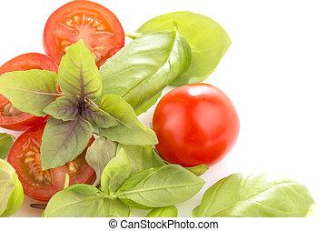 basilic, blanc, tomates, fond