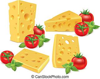 basilic, cerise, fromage, tomates