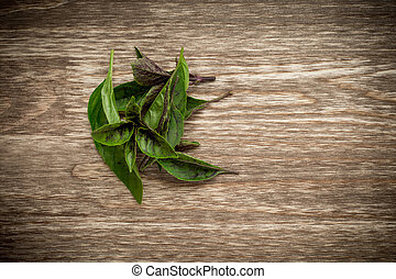basilic, feuilles, vieux, table bois