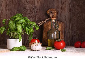 basilic, table, organique, cuisine domestique, vie, frais
