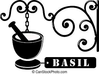 basilic, vendange, épices, enseigne