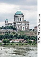 Basilica and Danube river in Esztergom, Hungary
