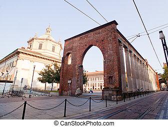 Basilica and San Lorenzo columns,  Milan. Italy