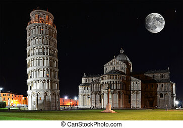 Basilica and the Leaning Tower on the Piazza dei Miracoli in...