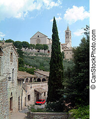 Basilica at Assisi - Basilica Assisi, Umbria with red car...
