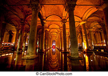Basilica cistern in Istanbu - Underground basilica cistern...