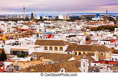 Basilica de la Macarena, Spanish Houses, Cityscape Cathedr Seville, Andalusia Spain.