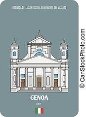 Basilica della Santissima Annunziata del Vastato in Genoa, Italy. Architectural symbols of European cities