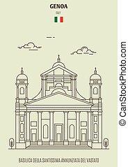 Basilica della Santissima Annunziata del Vastato in Genoa, Italy. Landmark icon in linear style