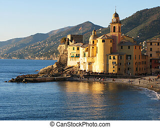 Basilica di Santa Maria Assunata in Camogli. Italian Riviera...