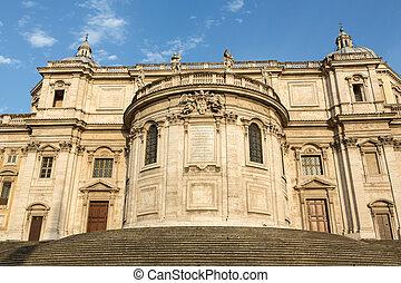 Basilica di Santa Maria Maggiore, Cappella Paolina, view from Piazza Esquilino in Rome. Italy.