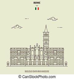 Basilica di Santa Maria Maggiore in Rome, Italy. Landmark icon in linear style
