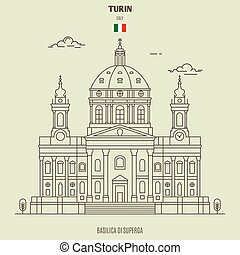 Basilica di Superga in Turin, Italy. Landmark icon in linear style