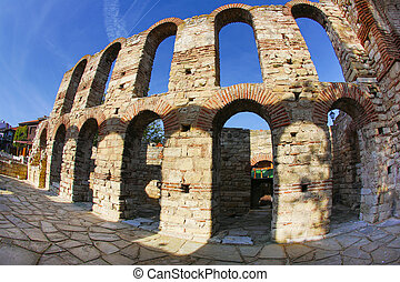 Basilica in Nessebar - Old basilica in Nessebar town in...