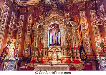 Basilica Jesus Mary Statues Church of El Salvador, Iglesia de El Salvador, Andalusia, Seville Spain. Built in the 1700s. Second largest church in Seville.