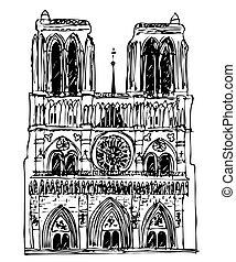 basilica Notre Dame - vector - Illustration of the basilica...