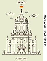 Basilica of Begona in Bilbao, Spain. Landmark icon