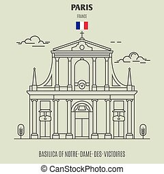 Basilica of Notre-Dame-des-Victoires in Paris, France. Landmark icon in linear style