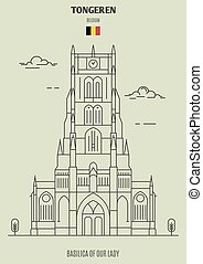 Basilica of Our Lady in Tongeren, Belgium. Landmark icon in linear style