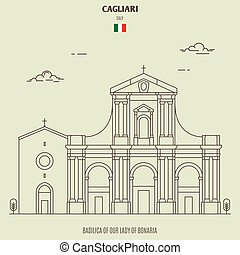 Basilica of Our Lady of Bonaria in Cagliari, Italy. Landmark icon in linear style