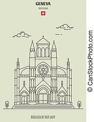 Basilica of Our Lady of Geneva, Switzerland. Landmark icon