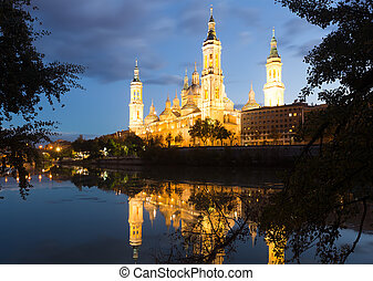 Basilica of Our Lady of the Pillar in dusk. Zaragoza